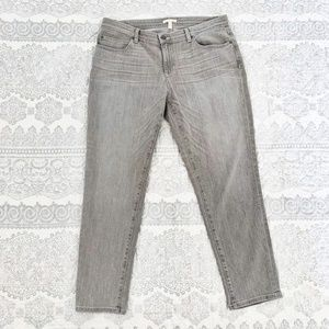 Eileen Fisher Gray Distressed Straight Jeans Sz 12